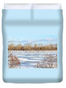 Fishermen On The Frozen River Duvet Cover