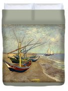 Fishing Boats On The Beach Duvet Cover