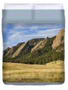 Flatirons With Golden Grass Boulder Colorado Duvet Cover