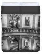 2 Floors Black And White Michigan State Capitol  Duvet Cover