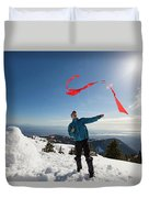 Flying A Kite On A Snowy Mountain Duvet Cover