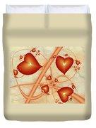 Fractal Red Hearts Duvet Cover