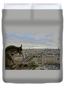 Gargoyle Overlooking Paris Duvet Cover