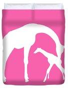 Giraffe In Pink And White Duvet Cover