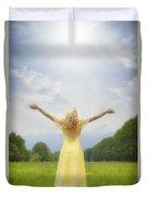 Girl On Meadow Duvet Cover