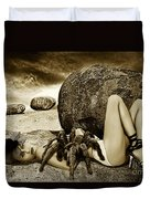 Girl With Spider Duvet Cover