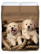 Golden Retriever Puppies Duvet Cover
