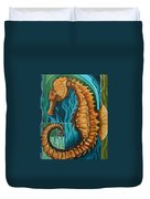 Golden Seahorse Duvet Cover