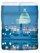 Government Building Lit Up At Night Duvet Cover