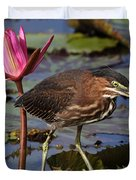 Green Heron Photo Duvet Cover