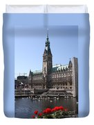 Hamburg - City Hall With Fleet - Germany Duvet Cover
