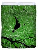 Hamburg Street Map - Hamburg Germany Road Map Art On Colored Bac Duvet Cover