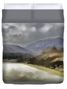 Highway Running Through The Wilderness Of The Scottish Highlands Duvet Cover