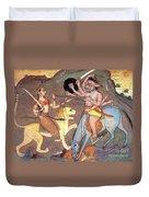 Hindu Goddess Durga Fights Mahishasur Duvet Cover by Photo Researchers