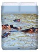 Hippopotamus Group In River. Serengeti. Tanzania. Duvet Cover