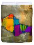 Honolulu Map And Skyline Watercolor Duvet Cover