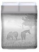 Horses In The Fog Duvet Cover