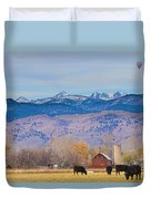 Hot Air Balloon Rocky Mountain Country View Duvet Cover