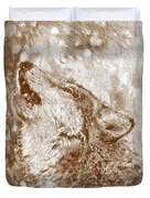 Howling Gray Wolf Duvet Cover
