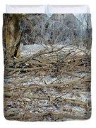 Ice Storm Poplars Duvet Cover