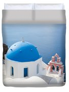 Iconic Blue Domed Churches In Oia Santorini Greece Duvet Cover