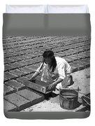 Indians Making Adobe Bricks Duvet Cover