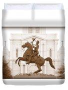 Jackson Square Statue In Sepia Duvet Cover