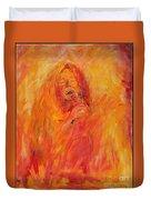 Janis Joplin On Fire Duvet Cover