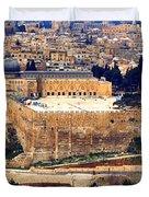 Jerusalem From Mount Olive Duvet Cover by Thomas R Fletcher