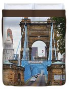 John Roebling Bridge 1867 Duvet Cover