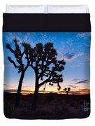 Josua Trees Beautifully Lit During Sunrise In Joshua Tree Nation Duvet Cover