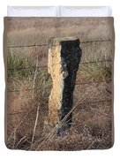 Kansas Country Limestone Fence Post Close Up With Grass Duvet Cover