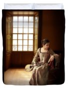 Lady In 16th Century Clothing With A Mandolin Duvet Cover