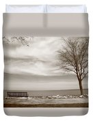 Lake And Park Bench Duvet Cover