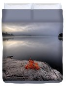 Lake In Autumn Sunrise Reflection Duvet Cover