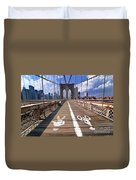Lanes For Pedestrian And Bicycle Traffic On The Brooklyn Bridge Duvet Cover