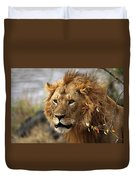 Large Male Lion Emerging From The Bush Duvet Cover