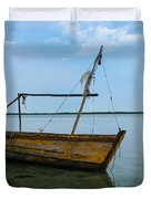 Lonely boat Duvet Cover by Jean Noren