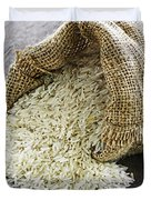 Long Grain Rice In Burlap Sack Duvet Cover