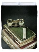 Lorgnette With Books Duvet Cover