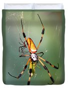 Male And Female Silk Spiders With Prey Duvet Cover