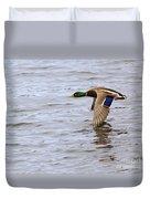 Mallard Duck In Flight Duvet Cover