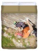 Man Climbing Re Azul, An Historic 7b Duvet Cover