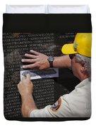 Man Getting A Rubbing Of Fallen Soldier's Name At The Vietnam War Memorial Duvet Cover