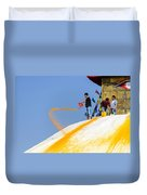 Man Throwing Orange Paint On Boudhanath Stupa Duvet Cover