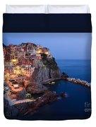 Manarola At Night In The Cinque Terre Italy Duvet Cover