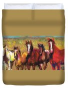 Mares And Foals Duvet Cover