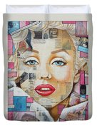 Marilyn In Pink And Blue Duvet Cover