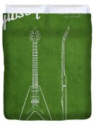 Mccarty Gibson Electric Guitar Patent Drawing From 1958 - Green Duvet Cover
