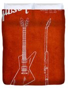 Mccarty Gibson Electrical Guitar Patent Drawing From 1958 - Red Duvet Cover
